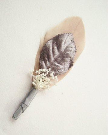 Blush and silver boutonniere - www.etsy.com/shop/EmilyKBotanicStudio