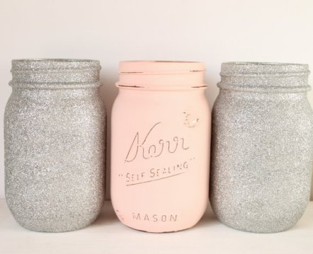 Blush and silver mason jars - www.etsy.com/shop/Prettyinpinkparty