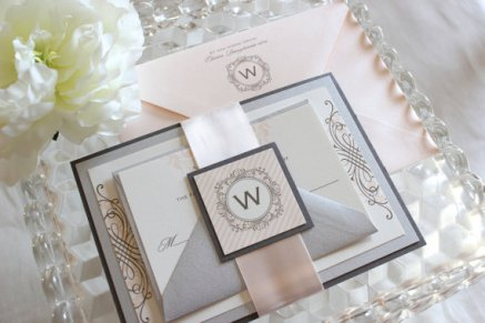 Blush and silver wedding invitations - www.etsy.com/shop/lovejessicainvites