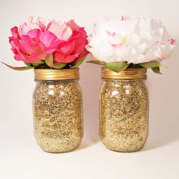 Gold glitter mason jar centerpieces etsy shop