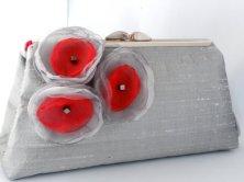 Grey and red clutch purse - www.etsy.com/shop/susiesparrowdesigns