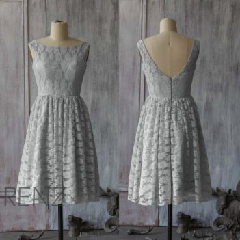 Grey lace bridesmaid dress - www.etsy.com/shop/RenzRags