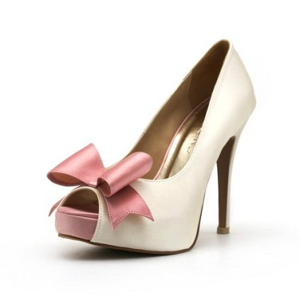 Ivory and pink wedding heels - www.etsy.com/shop/ChristyNgShoes