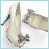 Ivory bow heels with blue soles - www.etsy.com/shop/BellaBelleShoe