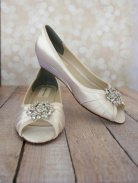 Low-wedge peeptoe wedding shoes - www.etsy.com/shop/DesignYourPedestal