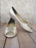 Low-wedge peeptoe wedding shoes - www.etsy.com/shop/DesignYourPedestal