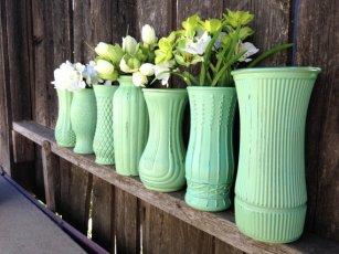 Mint vases - www.etsy.com/shop/STITCHandCABOODLE
