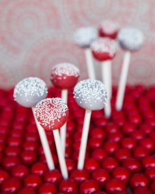 Red and grey cake pops - www.etsy.com/shop/ChicSweets