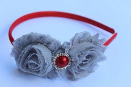 Red and grey flower girl headband - www.etsy.com/shop/SummerBloomKids