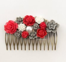Red and grey hair comb - www.etsy.com/shop/Jewelsalem