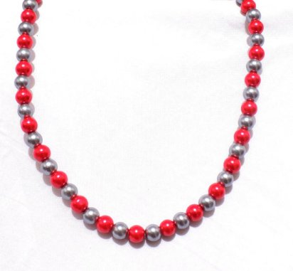 Red and grey necklace - www.etsy.com/shop/JustJewelry4Life