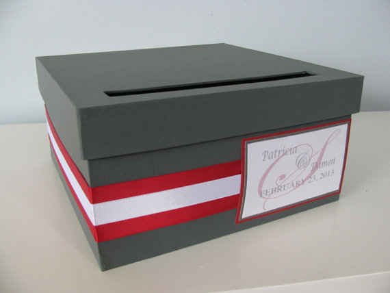 Wording For Wedding Gift Card Box : Red and grey wedding The Merry Bride