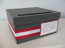 Red and grey wedding card box - www.etsy.com/shop/astylishdesign