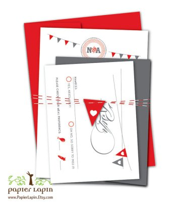 Red and grey wedding invitation - www.etsy.com/shop/PapierLapin