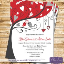 Red and grey wedding invitation - www.etsy.com/shop/WillowLaneStationery