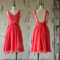 Red chiffon bridesmaid dress - www.etsy.com/shop/RenzRags