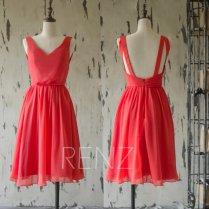 Red chiffon bridesmaid dress - www.etsy.com/shop/RenzRags