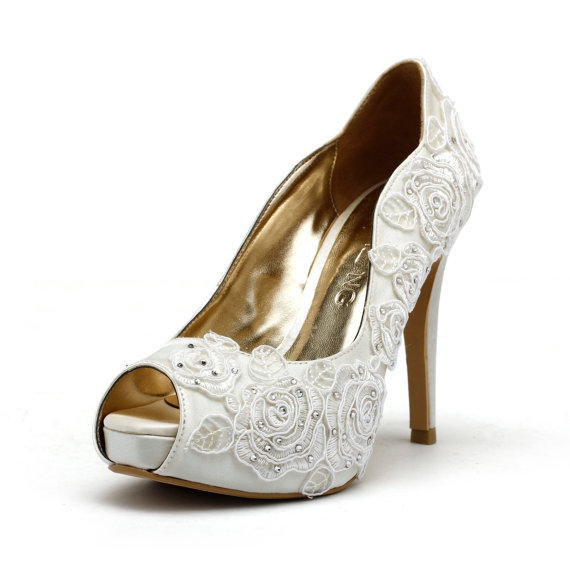 White lace-adorned wedding heels - www.etsy.com/shop/ChristyNgShoes