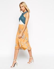 ASOS Colour Block Floral Pleated Midi Dress - asos.com