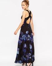 ASOS Cross Back Maxi Dress in Smokey Floral Print - asos.com