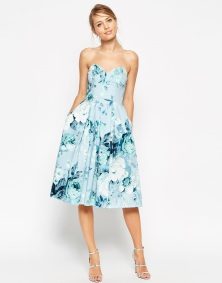 ASOS Salon Rose Print Bandeau Midi Prom Dress - asos.com