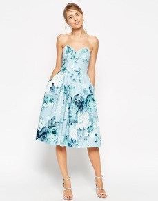ASOS Salon Rose Print Bandeau Midi Prom Dress - asos.com