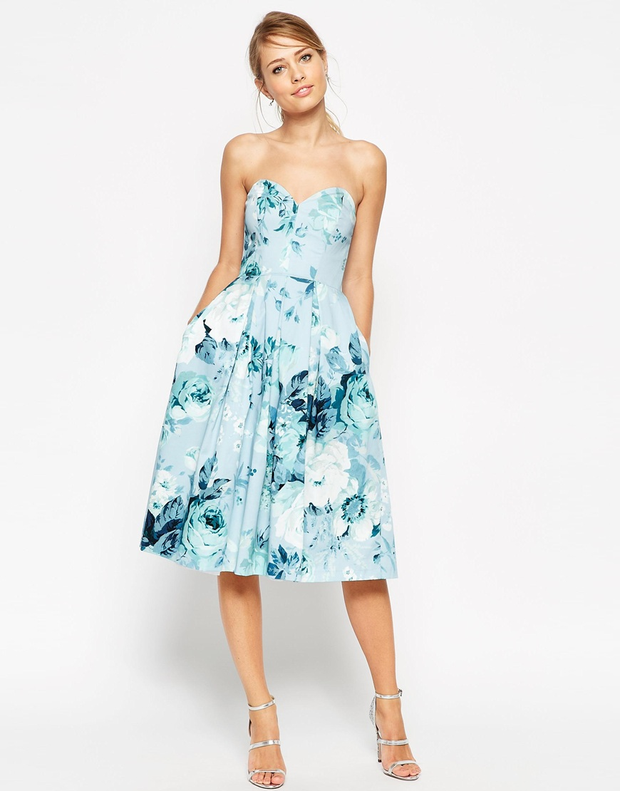 ASOS SALON Rose Print Bandeau Midi Prom Dress – asos.com