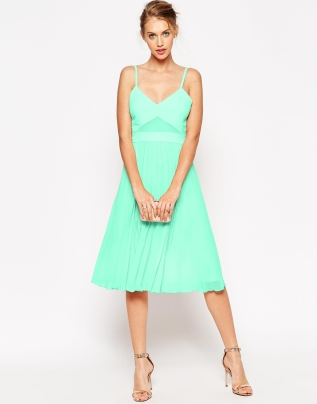 ASOS Sheer and Solid Pleated Midi Cami Dress - asos.com