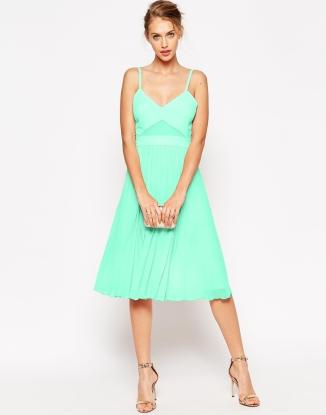 ASOS Sheer and Solid Pleated Midi Cami Dress - asos.com