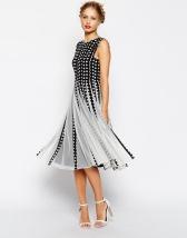ASOS Spot Mesh Insert Fit And Flare Midi Dress - asos.com