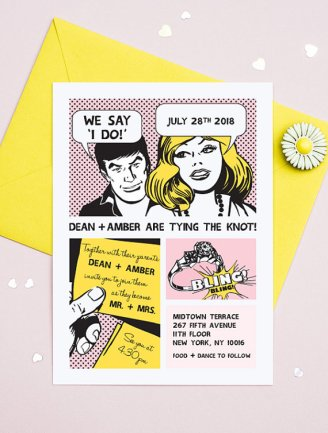 Comic strip wedding invitation - www.etsy.com/shop/3EggsDesign