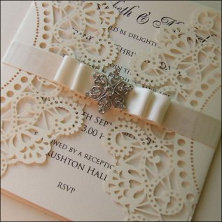 Cream wedding invitation - www.etsy.com/shop/WeddingParaphernalia