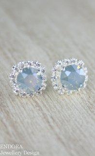 Dusty blue bridal earrings - www.etsy.com/shop/EndoraJewellery