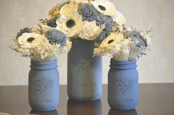 Dusty blue mason jars and flowers - www.etsy.com/shop/StellaDesignsShop