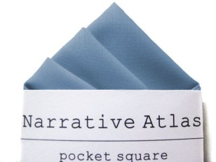 Dusty blue men's pocket squares - www.etsy.com/shop/NarrativeAtlas