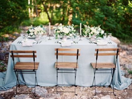 Dusty blue wedding reception inspiration {via elizabethannedesigns.com}