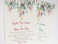 Feather wedding invitation - www.etsy.com/shop/Whimsicalprints