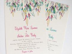 Feather wedding invitation - www.etsy.com/shop/Whimsicalprints