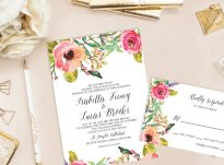 Floral wedding invitation - www.etsy.com/shop/cokkodesigns