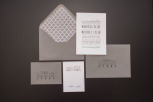 Grey wedding invitation - www.etsy.com/shop/SuitePaper