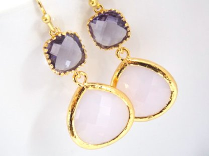 Lavender and gold earrings - www.etsy.com/shop/mlejewelry