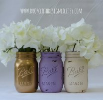 Lavender and gold mason jars - www.etsy.com/shop/dropclothdesignco