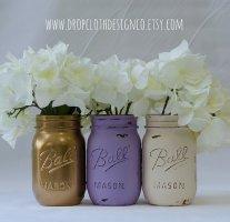 Lavender and gold mason jars - www.etsy.com/shop/dropclothdesignco
