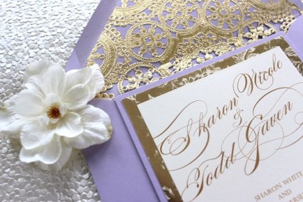 Lavender and gold wedding invitation - www.etsy.com/shop/AlexandriaLindo