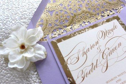 Lavender and gold wedding invitation - www.etsy.com/shop/AlexandriaLindo
