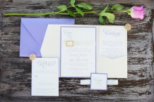 Lavender and gold wedding invitation - www.etsy.com/shop/loveandpaperie