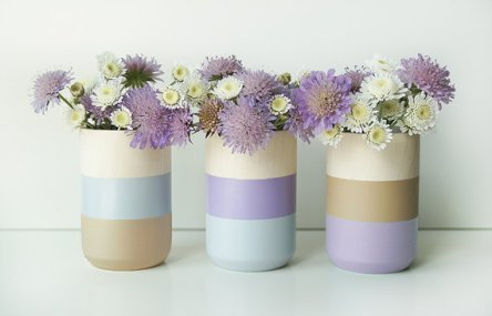 Lavender and gold wooden vases - www.etsy.com/shop/ShadeonShape