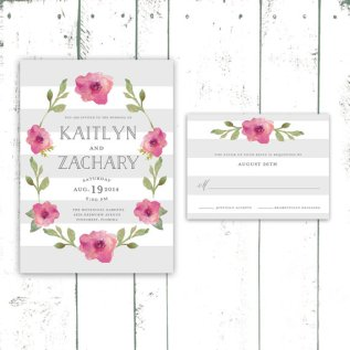 Modern stripe and floral wedding invitation - www.etsy.com/shop/MooseberryPaperCo