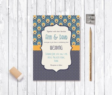 Peacock-style wedding invitation - www.etsy.com/shop/tranquillina