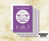 Purple wedding invitation - www.etsy.com/shop/OnceUponPress